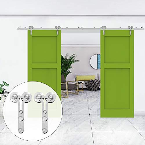 320cm/10.5FT kit de puerta corredera de acero inoxidable,Herrajes para puertas corredizas de acero inoxidable para puertas de vidrio/madera