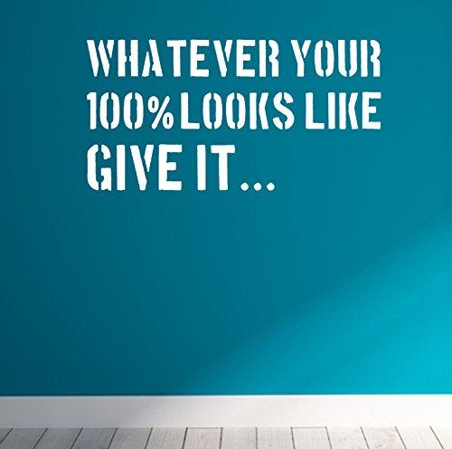 Give 100% Gym Fitness Motivational Wand Aufkleber Zitat, weiß