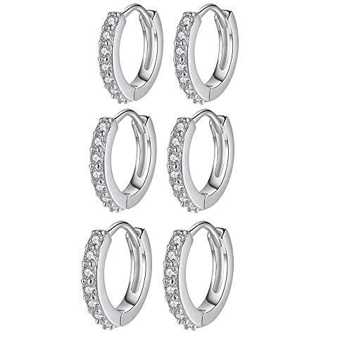 Juego de 3 pares de pendientes de aro de plata 925, hipoalergénicos, pequeños pendientes de aro de plata con circonita AAA, joyas regalos para mujer y hombre (10,5 mm)