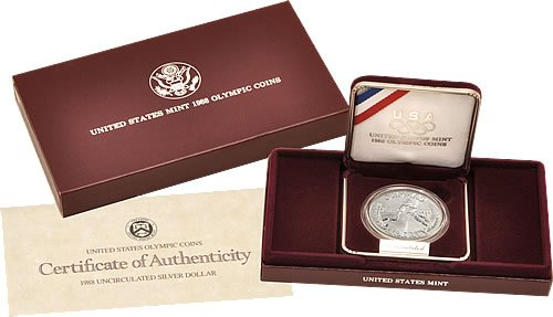 Price comparison product image 1988 S Olympic Comes with US Mint Packaging Dollar Coin Proof Grade