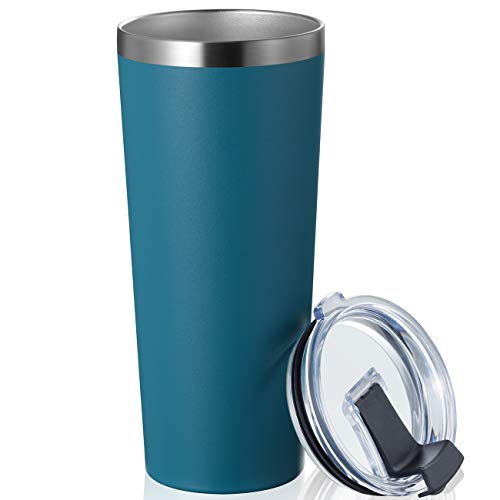 MEWAY 22oz Tumbler Stainless Steel Travel Coffee Mug with Lids Double Wall Insulated Coffee Cup for Home, Office, Travel Great (Navy, 1 pack)