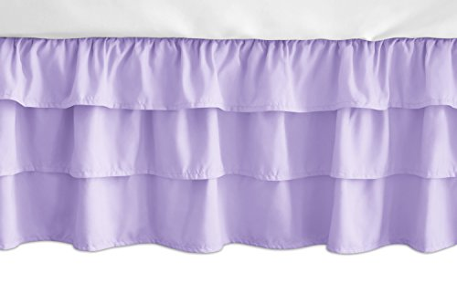 Sweet Jojo Designs Solid Lavender Girl Ruffled Tiered Baby Crib Bed Skirt Dust Ruffle for Pink and Purple Butterfly Collection