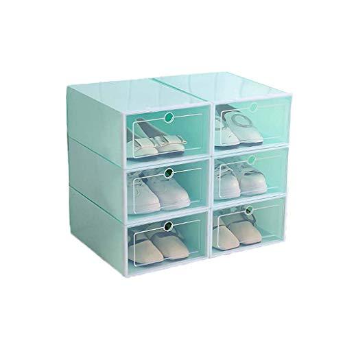 GUMEI 6 uds Caja de plástico para Zapatos, apilable, Plegable, Organizador de Zapatos, cajón, Caja de Almacenamiento con Puerta Transparente abatible, señoras, Hombres, 33,5x23,5x13cm