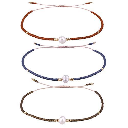 KELITCH 3 Stücke Samen Perlen Armbänder Handgemachte Freundschaft Armbänder Familie Strand Hand Kette Armreifen (Farbe 02R)