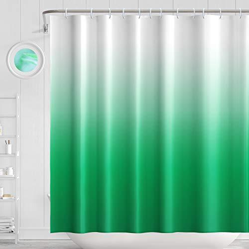 H HOMEWINS Duschvorhang 180 x 180 cm Polyester Wasserdicht Schimmelresistent Anti-Bakteriell Farbverlauf Badvorhang mit 12 Duschvorhangringen (Grün)