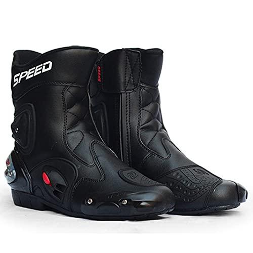 PGthree Boots Biker Hombres Botas de Motocross Negros, Repelente al Agua Hecho de Cuero Resistente con Protectores de cáscara Dura adjuntos Botas de Motocicleta (Size : EU38)