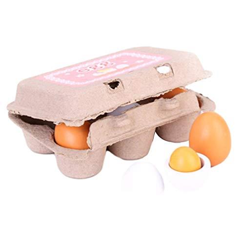 Yuxinkang Juego De Huevos De Simulación De Madera para Niños De 6 Piezas, Juguetes De Madera De Huevos De Simulación, Juego De Juguetes De Huevos De Cocina De Madera De Pascua DIY,