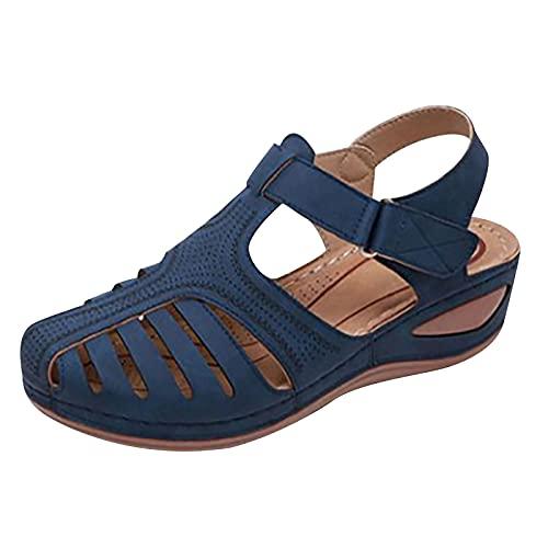 Sandalias Mujer Verano Nuevo 2021 Moda Elegante Zapatos de plataforma Cuña Hueca Zapatillas Playa Sandalias de Punta Abierta casual Fiesta Roman Tacones Altos Sandalias