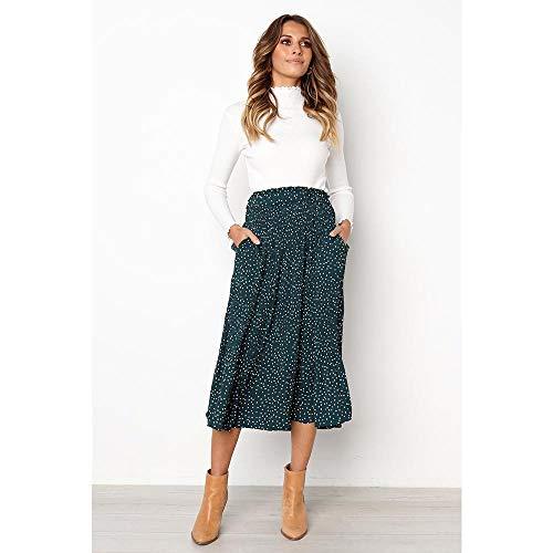 BEUHOME Falda Large Mujer A-Line Vintage Falda Plisada Cintura Elástica Faldas Largas y Elegantes de Columpio Falda Skater Suelta de Estampado Floral