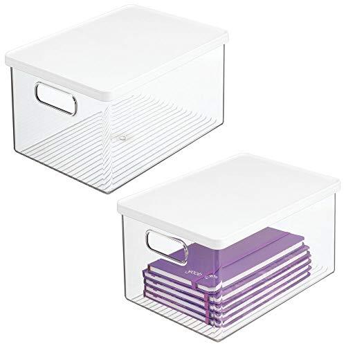 mDesign Juego de 2 cajas de almacenamiento para bolígrafos y más – Organizador de escritorio con asas y tapa de plástico resistente – Caja rectangular para material de oficina – transparente/blanco