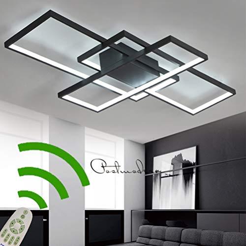 LED Deceknleuchte Wohn-Schlafzimmerlampe Dimmbar Deckenlampe Esszimmerlampe Fernbedienung Eckig 3-Ring Design Acryl-schirm Metall Kronleuchter für Flur Küchen Bad Deco Decken Leuchten (L110*W65cm)