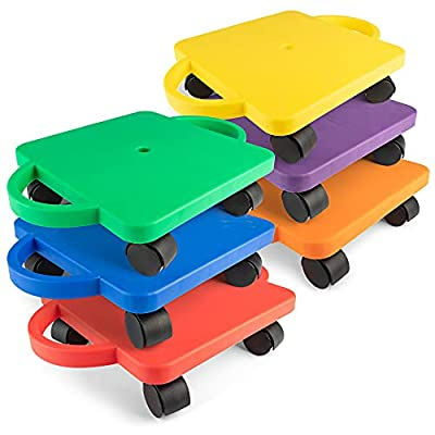 Champion Sports Scooter Board with Handles, Set of 6, Wide 12 x 12 Base - Multi-Colored, Fun Sports Scooters with Non-Marring Plastic Casters for Children - Premium Kids Outdoor Activities and Toys by Champion Sports