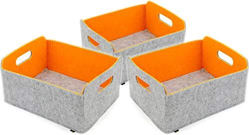 Luxflair 3er Set Faltbarer Aufbewahrungskörbe aus waschbarem Filz Graumeliert/orange, 30x24x15cm. Ordnungsbox, Regalbox, Faltbox, Spielzeugkorb, Filzkorb
