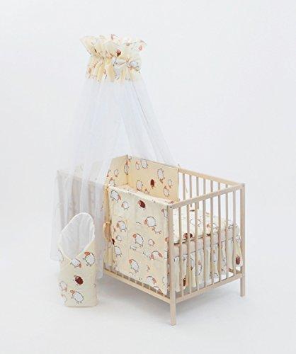 Completo conjunto set de cama cuna para bebé nino 13 elementos 120x60 (cama) (patrón: la ovejita negra)