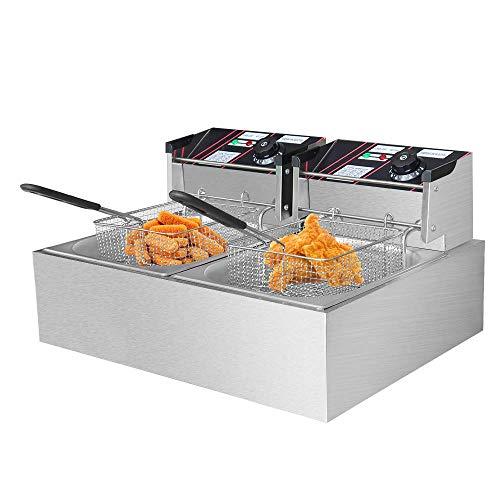 EOSAGA Electric Deep Fryer with Basket 12 Liter 1500W Each Countertop Deep Fryer Commercial Large TankStainless Steel French Fries Fryer Restaurant (12L W/Two Bakset)