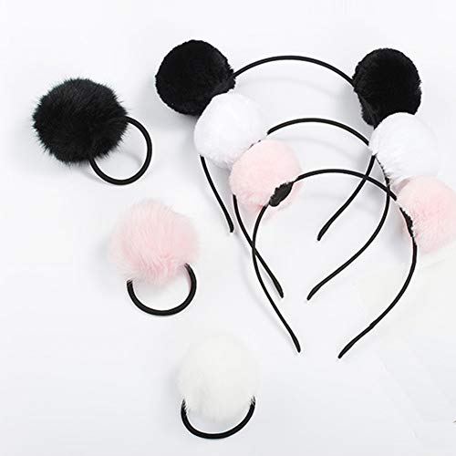 6 Pieces 3 Pairs Fluffy Furry Pom Ball Headband and Elastic Hair Ties Fuzzy Faux Fur Animal Ears Double Pom Headband PomPom Hair Band for Girls and Women
