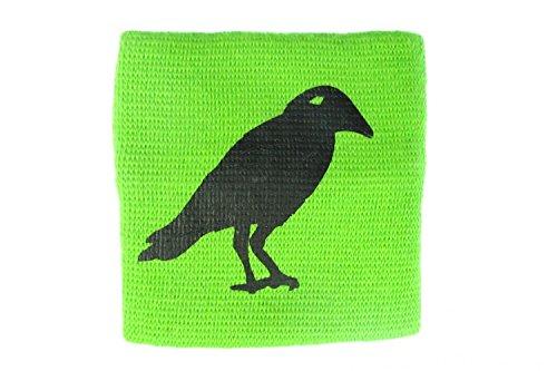 Miniblings Schweißband Pulswärmer mit Reißverschluss Geldbörse Rabe Krähe grün