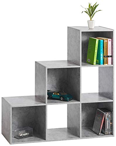 ts-ideen Stufenregal Design Regal 6 Fächer Standregal Bücherregal CD-Regal Aufbewahrung Holz Betonoptik 90 x 90 cm