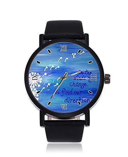 Wasserfarben gemälde Pusteblume Zitat Cool Ultrathin Herren Damen Armbanduhr Business Casual Sport Quarz Uhr für Frauen Herren Wasserdicht Unisex Armbanduhr