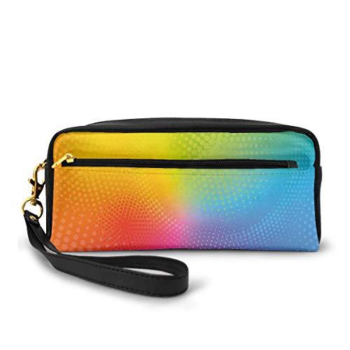 Pencil Case Pen Bag Pouch Stationary,Vibrant Neon Colors Circles Rounds Dots Radiant Composition Iridescent Effect Print,Small Makeup Bag Coin Purse