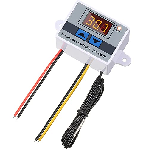 Módulo Controlador de Temperatura LED Digital XH-W3001 Interruptor Termostato con Sonda Termostato Electrónico de Enfriamiento Calefacción Programable Rango de -50℃ a 110℃ (12V 10A 120W)