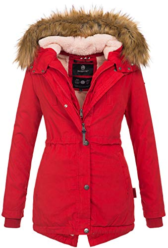 Marikoo Designer Damen Winter Parka warme Winterjacke Mantel Jacke B601 [B601-Akira-Rot-Gr.S]