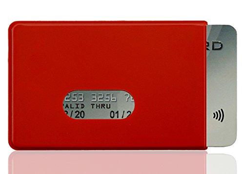 OPTEXX® RFID-Schutzhülle TÜV geprüft & zertifiziert Fred Rot für Kreditkarte | EC-Karte | Personal-Ausweis aus Hart-Plastik-Hülle sicheres Blocking von Funk Chips (Rot 1x)