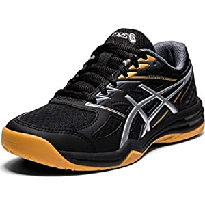 ASICS Kid's Upcourt 4 GS Volleyball Shoes, 5, Black/Pure Silver