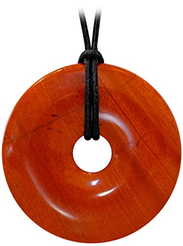 Kaltner Präsente–Regalo Idea–Cadena para Hombre y Mujer de piel con donut colgante de la piedra preciosa jaspe rojo (Diámetro 40mm)