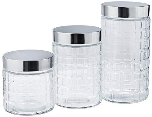 Conjunto de Potes de Vidro Quadrados com Tampa, 3 Peças, Incolor/Inox, Euro