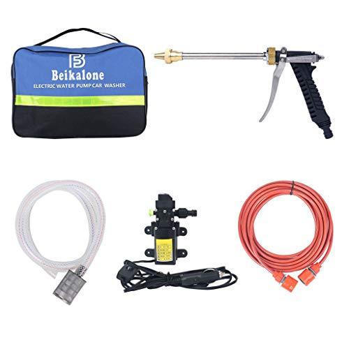 Beikalone Elektrische Wasserpumpe Autowaschanlage, Auto Power 12V 80W, 0.9bar 6L/min Hochdruck, für Waschen Bewässerung Dekontamination