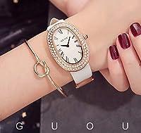腕時計 レディース 女性用 GUOU ウォッチ セレブ 人気 キラキラ ラインストーン 楕円型 プレゼント用 ホワイト