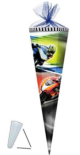 alles-meine.de GmbH Schultüte -  Motorradrennen / Motorrad  - 50 cm - rund - mit Tüllabschluß - Zuckertüte - mit / ohne Kunststoff Spitze - für Jungen - Rennen / Biker - Fahrsc..