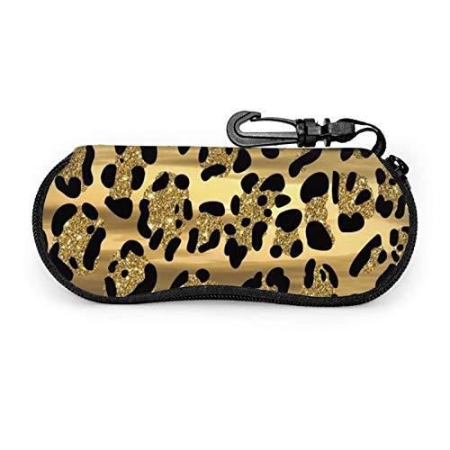 ZORIN Estuche de gafas de sol con estampado de leopardo de oro negro con clip de cinturón bolsa de gafas portátil