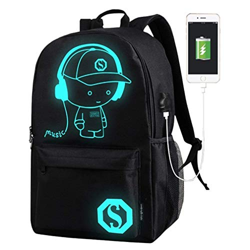 Boys Outdoor Backpack Kids School Bag Anime Luminous Rucksack Daypack with USB Cable/Pencil Case and Anti-Theft Password Lock Shoulder Bag for Teens Boys Girls