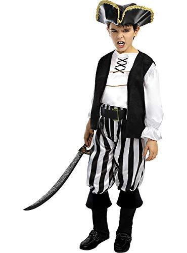 Funidelia | Disfraz de Pirata a Rayas- Colección Blanca y Negra para niño Talla 10-12 años ▶ Corsario, Bucanero - Color: Blanco - Divertidos Disfraces y complementos