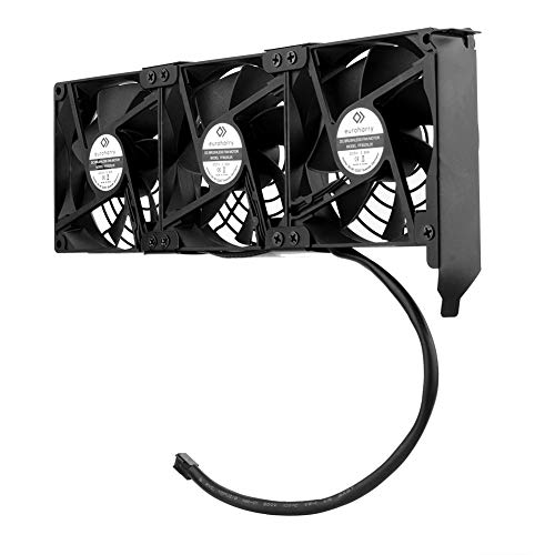 euroharry Ventilador de tarjeta gráfica 3 x 92 mm -Ventilador de alto flujo de aire, -Enfriador de soporte PCI- Ventilador de GPU, admite 5V, 7V, 12V, admite placa base de soporte