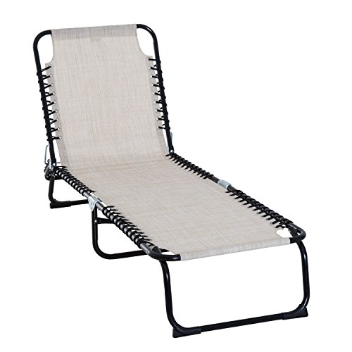 Outsunny 3-Position Reclining Beach Chair Chaise Lounge Folding Chair with Comfort Ergonomic Design,Cream White
