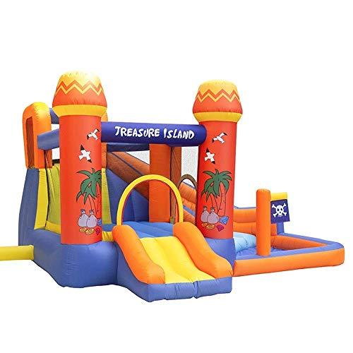 AJH Kids Castillo hinchable para saltar hinchable con grandes tobogán y obstáculos, castillo hinchable con ventilador