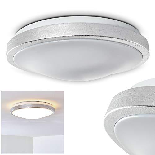 LED Deckenleuchte Sora, runde Deckenlampe aus Metall in moderner Silber-Optik, 18 Watt, 1380 Lumen, Lichtfarbe 3000 Kelvin (warmweiß), IP 44, auch für das Badezimmer geeignet