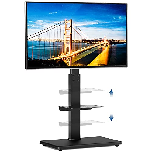 Rfiver Universal Swivel Floor TV Stand with Sturdy Wood Base for 32-65 Inch LCD LED Flat/Curved Screen TVs, Height Adjustable Standing TV Mount with Flexible Shelf and Internal Cable Management, Black