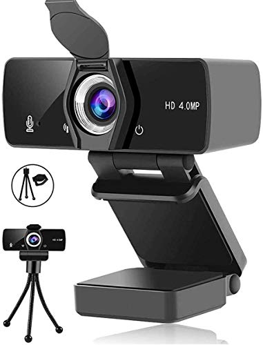 Webcam with Microphone, 2K Webcam for Desktop/laptop with Privacy Cover & Tripod, Plug and Play HD Computer Camera for YouTube, Skype, FaceTime, Video Conferencing, Studying, Games