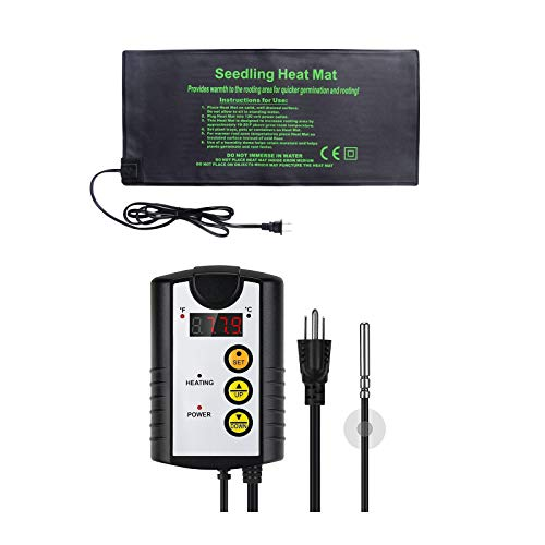 HYDGOOHO Seedling Heat Mat 9.2x20.2inch with Reptile Thermostat Temperature Controller,40-108℉,8.3A,1000W,Waterproof for Seed Germination Cloning and Plant Propagation