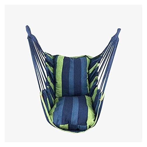 Silla portátil de la silla de la cuerda de la cuerda colgante del asiento de la silla de la silla con 2 almohadas para el jardín para la silla colgante al aire libre para el jardín columpios de hamaca