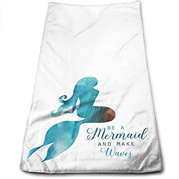 Watercolor Beautiful Blue Mermaid Hand Towels for Bathroom Soft Absorbent Microfiber Unisex 27.56 X 11.81 in Be A Mermaid and Make Waves Small Bath Towels