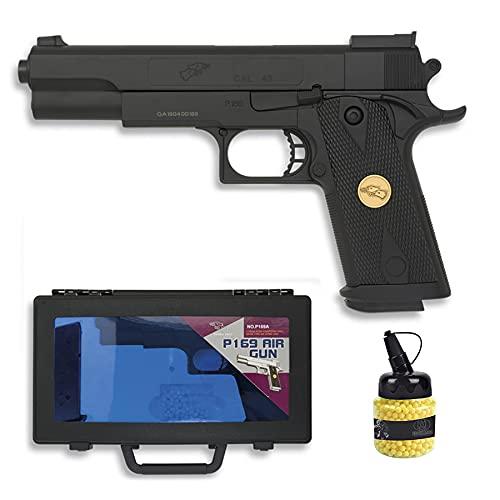 Pistola P169 (Muelle) | Pistola de Airsoft (Bolas de plástico 6mm) + maletín de PVC + biberón de munición