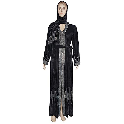 Without logo ZCPCS Musulmanes Kimono Abaya Cardigan Mujeres Abierto Abayas Vestido de Terciopelo Negro Dubai Turco Kaftan Robe Tallo Marruecos (Color : Black, Size : One Size)
