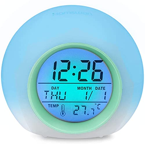 Sveglia Digitale,Allarme LED Sveglia,Wake-up Light per Bambini con 7 Colori,Intelligente a Elettronica Orologio da Comodino,Intelligente Suoni Naturali con Tempo 12/24 Ore,Data,Temperatura,Snooze,Blu