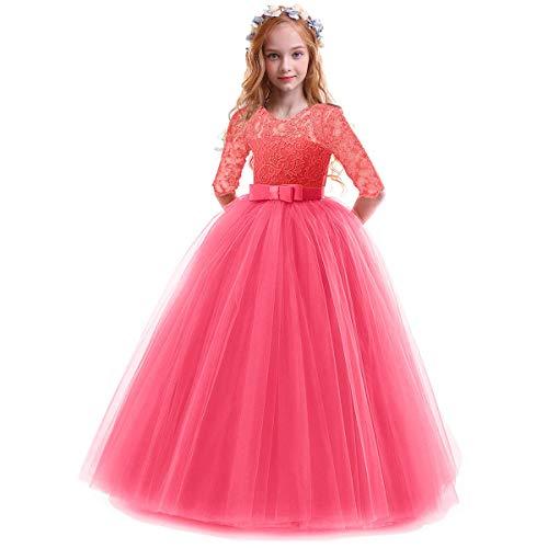 Vestido de princesa para niña, vestido de fiesta, boda, dama de honor, de tul, vestido de cóctel, elegante, largo de noche, comunicación, tallas 104-152 Rojo sandía 11-12 Años