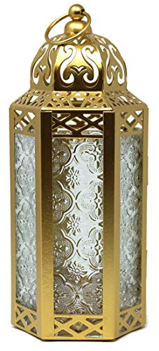 Decorative Candle Lantern Holder with LED Fairy Lights for Decor, Medium, Gold
